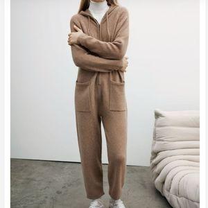 Zara hooded knit jumpsuit